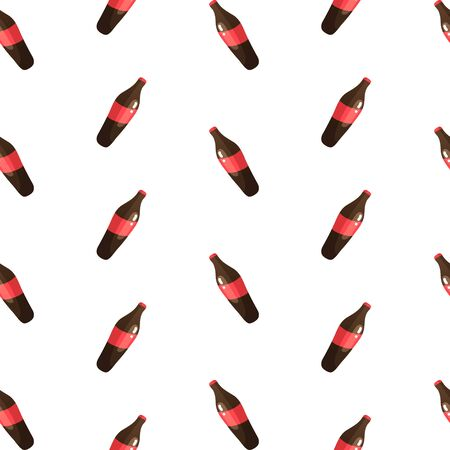 Seamless pattern with dark red bottles of soda