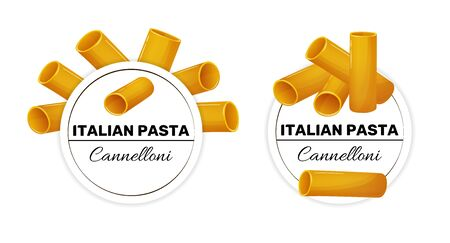 Set of labels for italian pasta, cannelloni