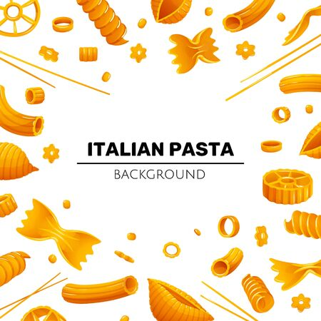 Bright frame with different types of pasta