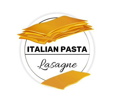Label of lasagne, pasta for a puff casserole. Çizim