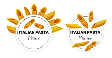 Set of labels for italian pasta, penne Çizim