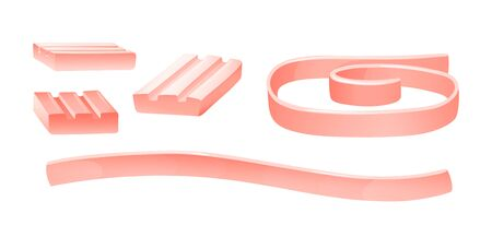 Set of different type of bubblegums in pink color. Ribbed and tapes, vector illustration isolated on white