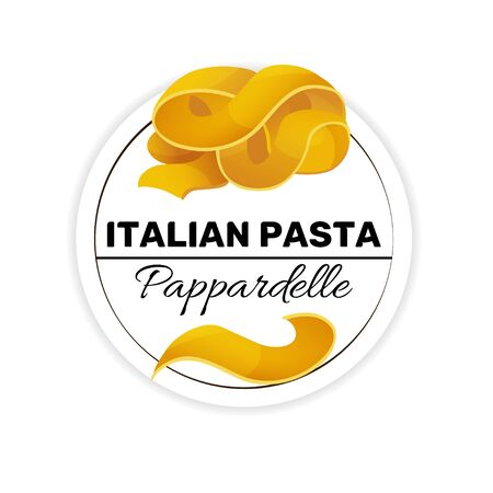 Label of pappardelle, italian long wide pasta