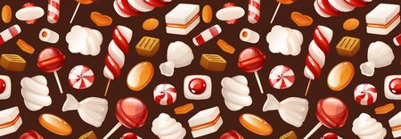 Header with bright pattern of candies. Cartoon
