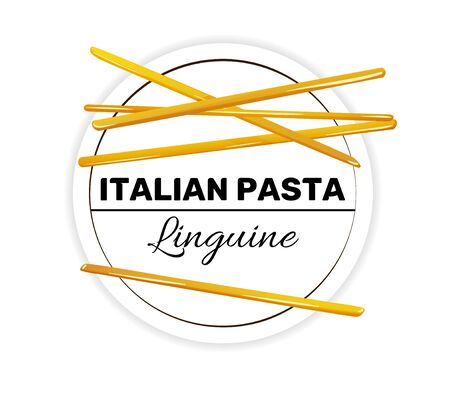 Label of linguine, italian long and thin pasta. Çizim