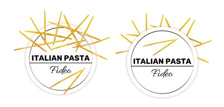 Labels of fideo, italian short and thin pasta. Template for package design, vector illustration isolated on white