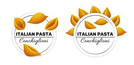 Labels for conchiglioni, an italian seashell pasta