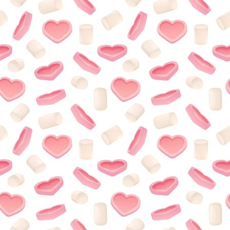 Seamless pattern with pink hearts and marshmallows