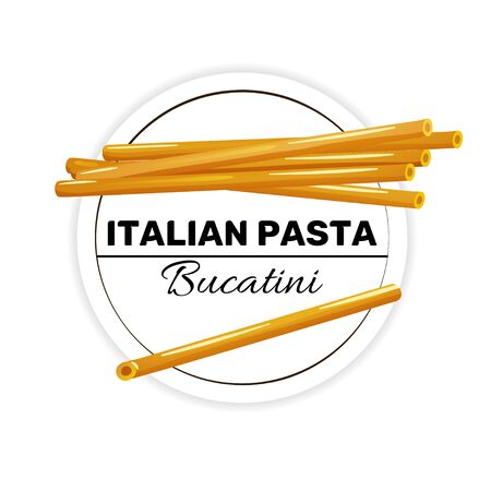 Label of bucatini, italian round and long pasta. Çizim