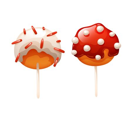 Set of two cake pops with glaze and sprinkling Çizim