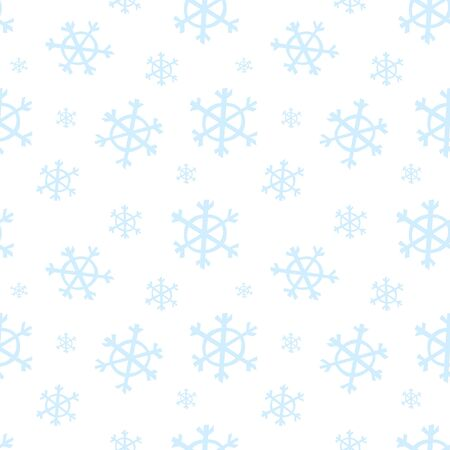 Seamless pattern with blue snowflakes and snow Çizim