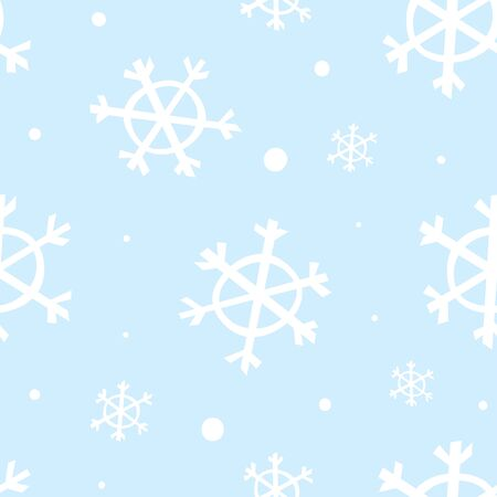 Light blue seamless pattern with white snowflakes