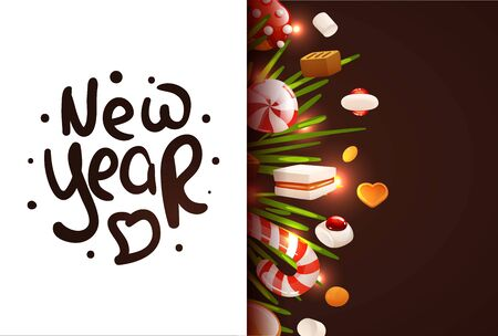 Greeting card with New Year hand drawn lettering Çizim