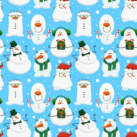 Cute winter seamless pattern with cartoon snowmans