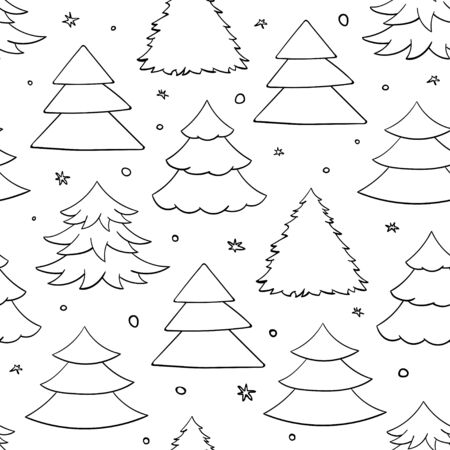 Simple black and white pattern with christmas tree Çizim