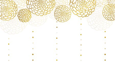 Vector white banner with golden marigolds and vertical lines of drops Çizim
