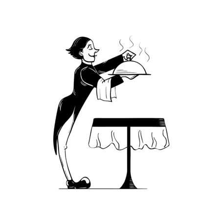 Vector illustration of a waiter, who is opening a hot tray with meal over the restaraunt table. Cartoon style, black and white illustration