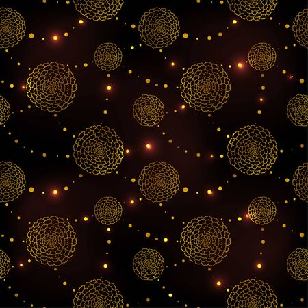 Seamless pattern with golden outline marigolds and beads. Dark background, vector illustration