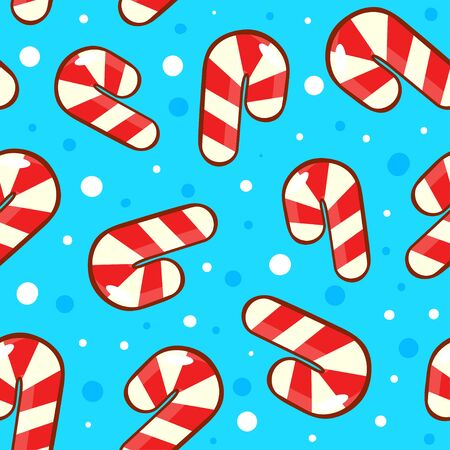 Bright blue pattern with candy canes and snow