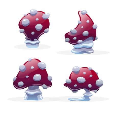 Set of different fly agaric, poison mushrooms. Concept for gamedev environment. Cartoon casual style, vector illustration isolated on white
