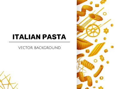 Italian pasta background. Compostion of dry macaroni behind the white sheet, with shadow. Template for designing. Cartoon vector illustration Çizim