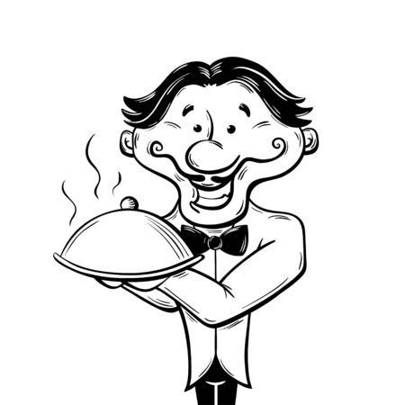 Smiling waiter is holding a tray with a hot dish Çizim