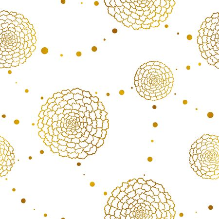 Seamless pattern with golden marigolds and beads