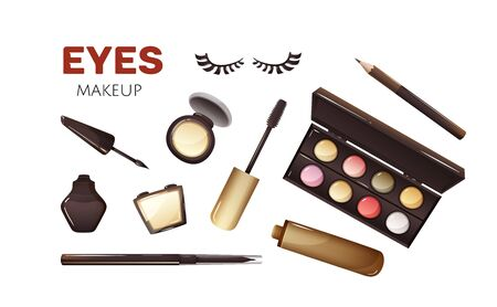 Products for eyes makeup, some types cosmetics