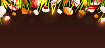 Empty background template, New Year and Christmas theme. Candies and fir-needles of christmas tree by the top edge. Template for designing, vector illustration in cartoon style Çizim