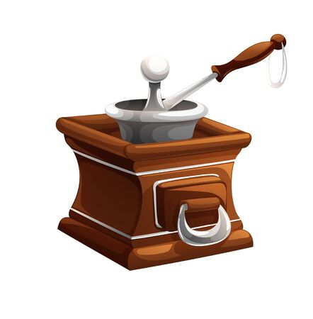 Old classic wooden coffee grinder. Vector illustration in cartoon style, isolated object on white background