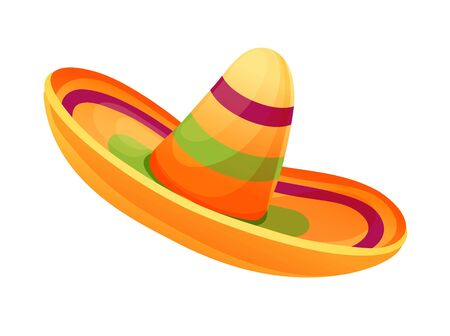 Mexican national hat, sombrero in cartoon style Illustration