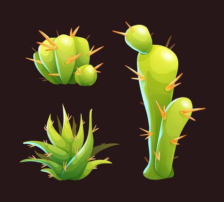 Cute green cactuses and aloe vera in cartoon style
