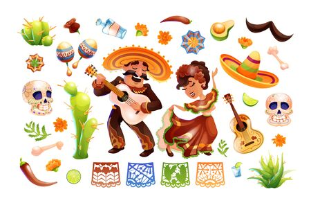 Mexican characters and objects set. Mexico symbols