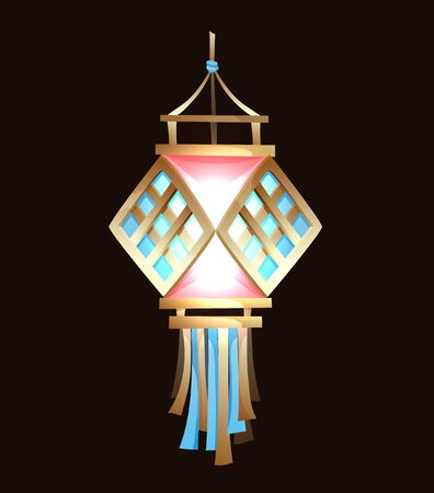 Beautiful indian lantern, Diwali festival. Vector cartoon illustration on dark
