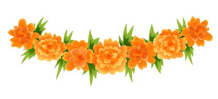 Garland of orange marigold blooms and green leaves Illustration