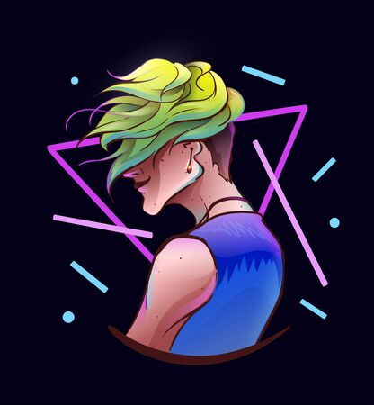 Young handsome man in half-turned pose, wears denim vest and earring. Modern k-pop haircut, green colorful hair. Wind in the hair. Vector colorful print illustration