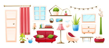 Set of cozy home objects - lamps, domestic plants, sofa and ottoman, shelves and books, mirror and curtain and others. Vector objects in cartoon style, isolated on white background 向量圖像