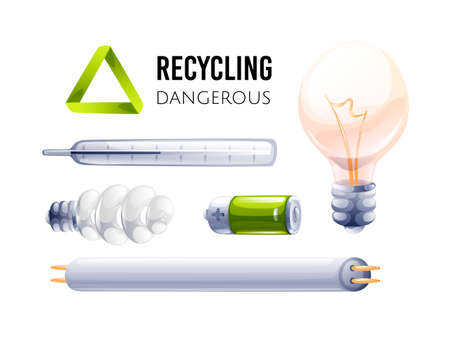 Recycling icon. Different types of dangerous waste