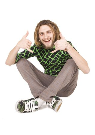 young dreadlock man sits isolated Stock Photo - 6236134
