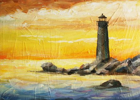 oil painted picture with sea, sunset and beacon  photo