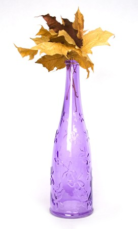 wither: purple design decorative bottle with wither maple leaves Stock Photo