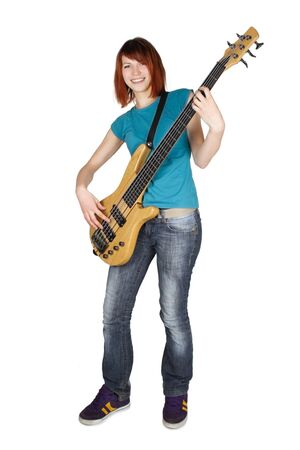 bass guitar women: young beauty redhead girl playing bass guitar and smiling, full body, isolated