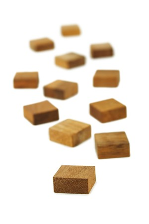 wooden square figures isolated photo