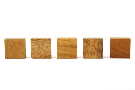 wooden square figures in line isolated photo