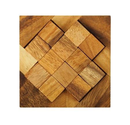 wooden square figures assemble in puzzle isolated photo