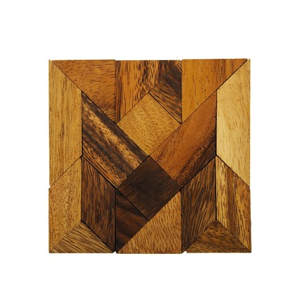 wooden figures assemble in square puzzle isolated photo