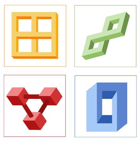 diferentes ilusiones ópticas multicolores de vector de objetos geométricos unreal