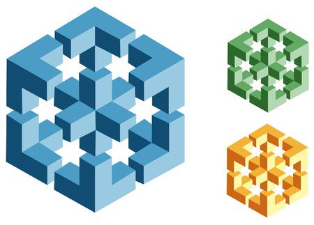 Paradoks: różne wielokolorowe optical illusions wektora unreal obiekty geometryczne Ilustracja