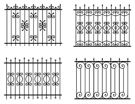 silhouette de vecteur de clôtures rue Vieille différents