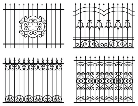 silhouette of different old street fences vector Stock Vector - 8603896